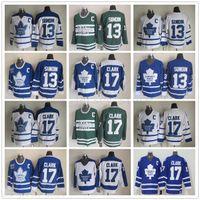 Vintage Toronto Maple Leafs 17 Wendel Clark Hockey Jerseys Retro Classic 75e anniversaire 13 tapis Sundin Jersey Broderie C Patch S-XXXL