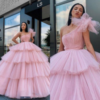 Arabia Pink Ball Gown Evening Dresses One Shoulder Tulle Tie...