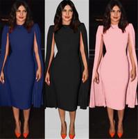 Katı Renk Tasarımcı Kadınlar Gelinlik Modelleri Zarif akşam Formal Elbise Kraliçe İnce Robe Uzun kollu Mürettebat Boyun Kalem Elbise