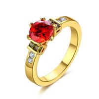 Lekani de anillo de las mujeres circón Decoración Ronda Rubí KZCR455A Oro