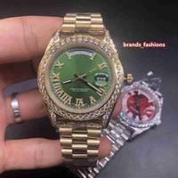 Herren Hochwertige Uhr Gold Edelstahl-Bügel-Uhr-Diamant-Ring Mund Four Corner Diamant-Uhr-automatische mechanische Armbanduhr