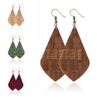 35cm Retro PU Läder Örhängen för Kvinnor Unik Design DoubleDed Wood Grain Earrings Party Geometriska Örhängen Julklappar