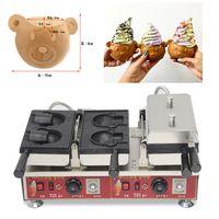 Bocca aperta elettrica Taiyaki 110V 220V Ice Cream Bear Waffle Cono Maker Machine Baker Ferro Fare Pan Plate