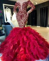 2020 арабский ASO EBI красные роскошные русалки вечерние платья кружева Кружевные из бисера Кристаллы выпускных платья явная шея формальная партия второе приемные платья