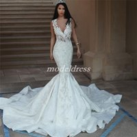 Arabic See Through Mermaid Wedding Dresses 2019 Sheer Neck Sweep Train Appliques Beads Chapel Garden Country Bridal Gowns vestido de novia