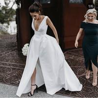 2020 новый Винтаж свадебные платья белый A-Line свадебные платья глубокий V-образным вырезом высокий Сплит атласные карманы суд поезд страна vestidos плюс размер