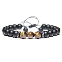 2020 Nova Weaving Tópico pulseiras Homens Femme fosco Oxyn Pedra Braslet Meditação Yoga Jewelry Tiger olho frisada Braclet Pulseras