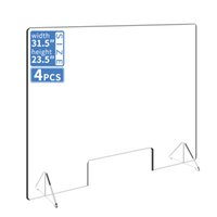 4pcs Sneeze Defense Acrylic Plexiglass Sneeze Guard Barrier ...