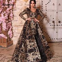 Yousef Aljasmi 2020 Sirène Robes de bal col en V détachable Dessus de jupe Robes de soirée de Split arabe Luxury Plus Size formelle Party HABILLÉES