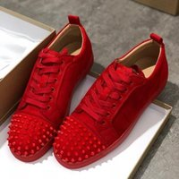 2019 Luxury Sneaker Studded Spikes men trainers Red Bottom Shoes Top quality GREY NEW Designer Brand Flats 100% Genuine Leather For US 5-12