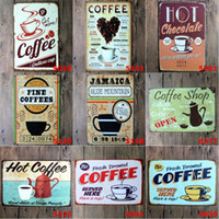 خمر معدن القصدير علامات القهوة المخمرة خدم هنا لديك كوب القصدير المشارك 20 * 30 سنتيمتر أوروبا الإبداعية لوحات الحديد