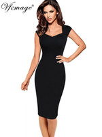 Vfemage Womens Sexy Elegante Estate Cap Sleeve Slim Casual lavoro ufficio Business Fitted Fitted Bodycon Dress 2836