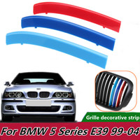 3pcs Car Front Grill Sport Stripes Motorsport Power Stickers for BMW E39 1999-2004 Grille Trim Fasten Tri-Color Strips Covers