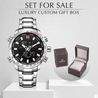 NAVIFORCE Brand Men Военные Спортивные часы Мужские LED Аналоговые цифровые часы Мужской армии нержавеющей кварцевые часы с коробкой Набор для продажи