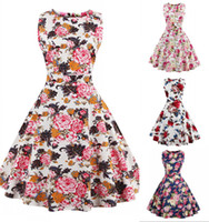 Audrey Hepburn Vintage Stil Günlük Elbiseler Modern Ruffles Kadınlar Avrupa Kolsuz Çiçek Baskı Etekler FS0114
