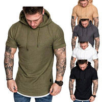 Camiseta de las camisetas de los hombres con capucha de dos piezas falso del verano de los hombres de la camiseta de manga corta camisetas de moda cuello redondo de los hombres ocasionales t-shirTrendy ropa