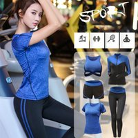 5pcs Set Yoga Suit Donna Tute S-XXL Palestra Donna Abbigliamento sportivo Palestra Tute sportive Corsa Jogging Yoga Ropa Deportiva Mujer