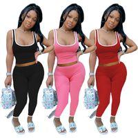 Женщины лето бег трусцой костюм сплошной цвет Спорт фитнес комплект из двух частей черные спортивные костюмы йога Майка жилет брюки леггинсы повседневная одежда 3416