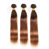 # 4/30 Ombre Индийские девственные человеческие волосы Прямые плетеные пучки 3шт коричневые корни до средних темно-рыжих