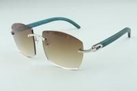 óculos de sol novos quentes A4189706-1 puros naturais templos de madeira azuis, Fábrica de qualidade superior direto óculos de moda unissex