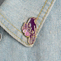 Gothic crow enamel pin Beautiful Purple bird pink flower badge brooches for women Denim Jackets Shirt bag Lapel pin jewelry gift for friend