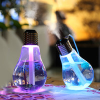 400ml Bulb Forma Lamp LED umidificador Mini portátil para Bulb Travel Home LED Night Light 7 LED Cor umidificador de ar de carregamento USB