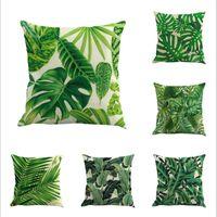 Druck Kissenbezug Dekoration grüne tropische Pflanze Baum Blätter Frische Wurfplatz Kopfkissenbezug Home Hotel Verwendungszweck Dekorative Pillowcase
