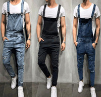 Hot Men' s Overall streetwear Casual Jumpsuit Jeans Wash...