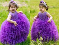 Новый фиолетовый розовый розовый малыш девушка пагентны платья ясных экипажей шеи кружевные аппликации мяч платья принцесса милые детские девушки цветок девушка платья