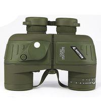 Русский военный 10x50 HD Увеличить Marine Бинокль дальномер компас телескопа окуляр Азот Водонепроницаемый Army Green