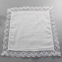 25cm Beyaz Dantel İnce Mendil% 100 Pamuk Havlu Kadın Düğün Hediye Parti Dekorasyon Kumaş Peçete DIY Düz Blank Mendil DBC BH2669