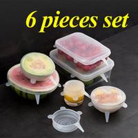 سيليكون تمدد شفط وعاء اغطية 6PCS / مجموعة الصف الغذاء الطازج حفظ التفاف ختم غطاء عموم الغلاف مطبخ أدوات زينة k478