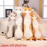 Juguetes de peluche Animal Gato lindo creativo largo Oficina Juguetes blandos Hora de la almuerzo de la siesta Dormir almohada cojín relleno regalo de la muñeca para los niños. # Gfk