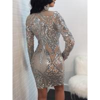 Großhandels-Versuchen Alles Sexy Pailletten-Kleid Langarm-Silber-Glitter-Kleid Bodycon Kleider 2018 neue Frauen-Party Night Damen Kleider