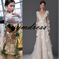 Elegante Vestidos De Casamento 2019 V Pescoço Trem de Varredura Sheer Manga Longa 3D-Floral Apliques de Praia vestido de Noiva vestito da sposa