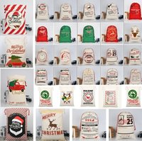 Hot Christmas bags Large Canvas Monogrammable Santa Claus Dr...