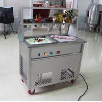 Flach Einfrieren Eis-Maschine Edelstahl gebraten Eismaschine Joghurt Eis Roll-Maschine gebraten mit 5 Tanks