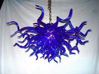 2018 nueva llegada Dale Chihuly estilo azul LED de la lámpara colgante Art Deco Mano iluminación soplado Murano pendiente de la luz de Droplight