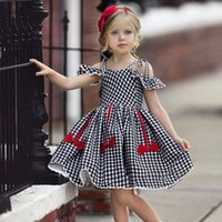 Vieeoease Girls Dress Plaid Kids ropa 2019 moda de verano correas volantes arco encaje vestido de princesa CC-381