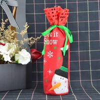 1pc Sequin Père Noël Bonhomme de neige de Noël peau de conception Bouteille de vin Housses Sac de Noël Sacs cadeaux Fournitures Décor 2017 récent
