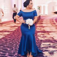 Stain Royal Blue Stain Bridemaid Kleid 2020 Kurzschluss-Hülsen-Nixe-Mädchen des Ehren hohe niedrige Abschlussball Hochzeitsgast-Kleid-Partei-Kleider nach Maß