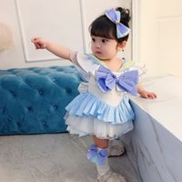 Baby Girl Japan Style 4pcs Sailor Moon Traje 2020 Ropa de los niños de verano conjuntos lindos vestido + pantalones cortos + calcetines + clip de cabello E20138