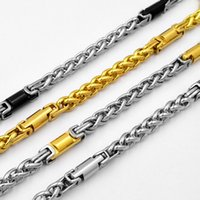 SUNNERLEES Fashion Jewelry 316L Stainless Steel Necklace 6mm Geometric Wheat Link Chain Silver Gold Black Men Women Gift SC60 N