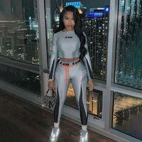 Yüksek Elastik Mektup Baskı Spor Eşofman Kadın 2 Parça Set Skinny Uzun Kollu Kırpma Üst İnce Tayt Spor Takım Elbise