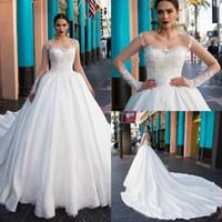Trendy Milla Nova Tallas grandes Vestidos de novia Sheer Neck Satin Lace Mangas largas vestido de noiva Vestidos de novia a medida