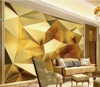 murales personalizados de oro fondos de pantalla fondos de escritorio geométrica para paredes 3 d para la sala de estar