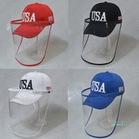 Donald Trump EE.UU. Banderas sombrero con máscaras de plástico facial completo Casquillo de la bola anti-UV exterior Caps antirrociadura máscaras a prueba de viento desmontable Máscara sombreros D42808