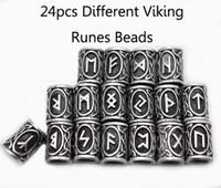 24pcs Original Viking Runes Charms perline risultati per bracciali per collana pendente per barba o capelli vichinghi kit runici