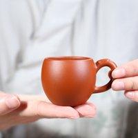 Zish Çay Kupası ile Sap Kırmızı Zhuni Çay Usta Tek Kupa Yüksek Kalite El yapımı Seramik Küçük Çay Bowl Aksesuarları