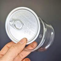 33 * 65mm en plastique transparent boîte en fer blanc 100ML concentré Emballage Airtight Jars alimentaire Herb rangement avec couvercle en métal Easy Pull anneau autocollants personnalisés
